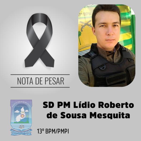 Nota de Pesar da Polícia Militar do Piauí pela morte do soldado Lídio Mesquita - Foto: Divulgação