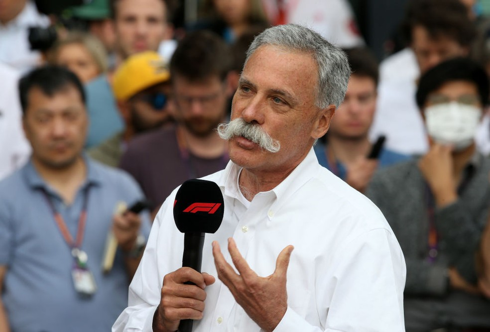 Chase Carey na coletiva pós-cancelamento do GP-Foto: Charles Coates/Getty Images