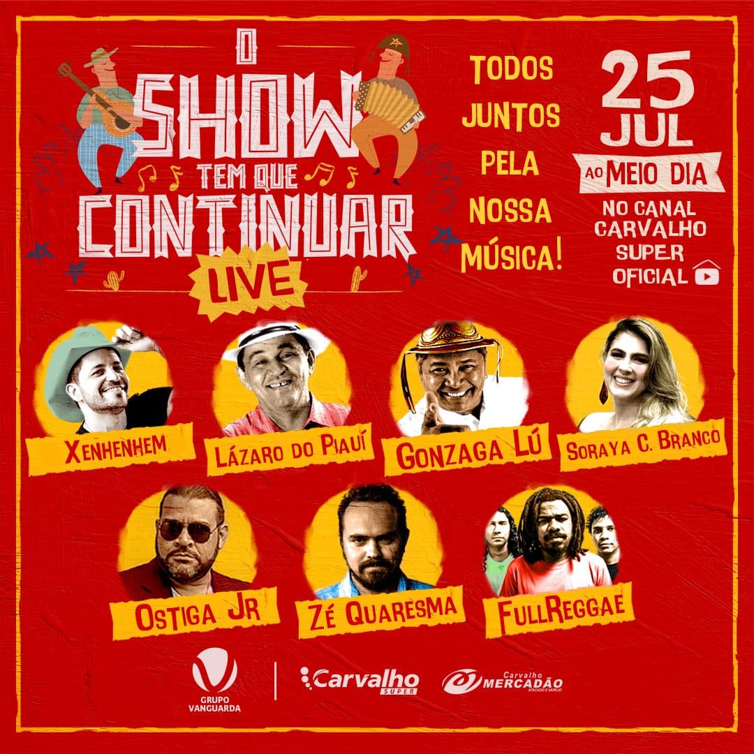 """Live solidária """"O Show tem que continuar"""" acontece neste sábado"""