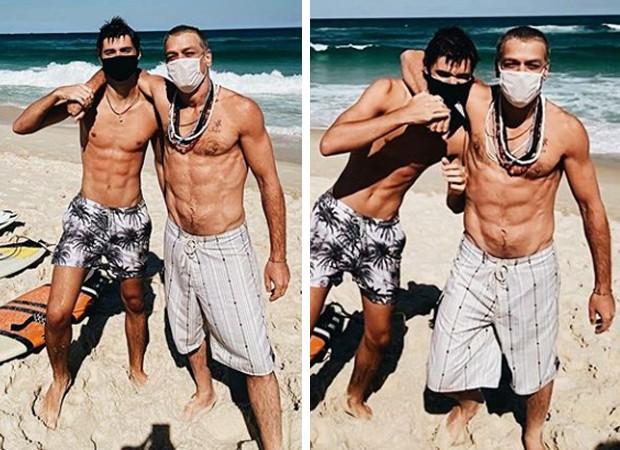 Fábio Assunção e o filho na praia - Foto: Reprodição/Instagram