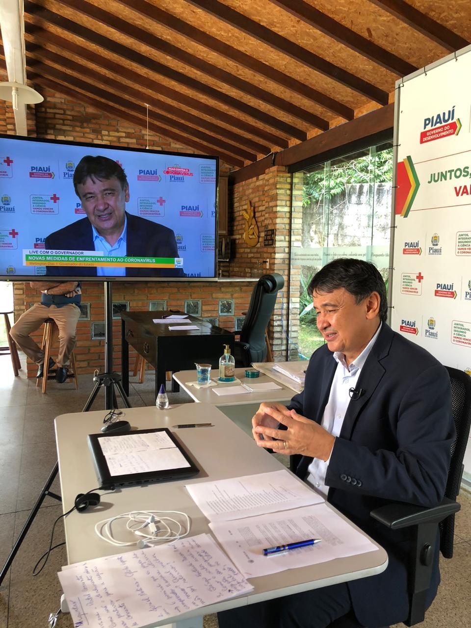 Governador Wellington Dias em live - Foto: Ascom