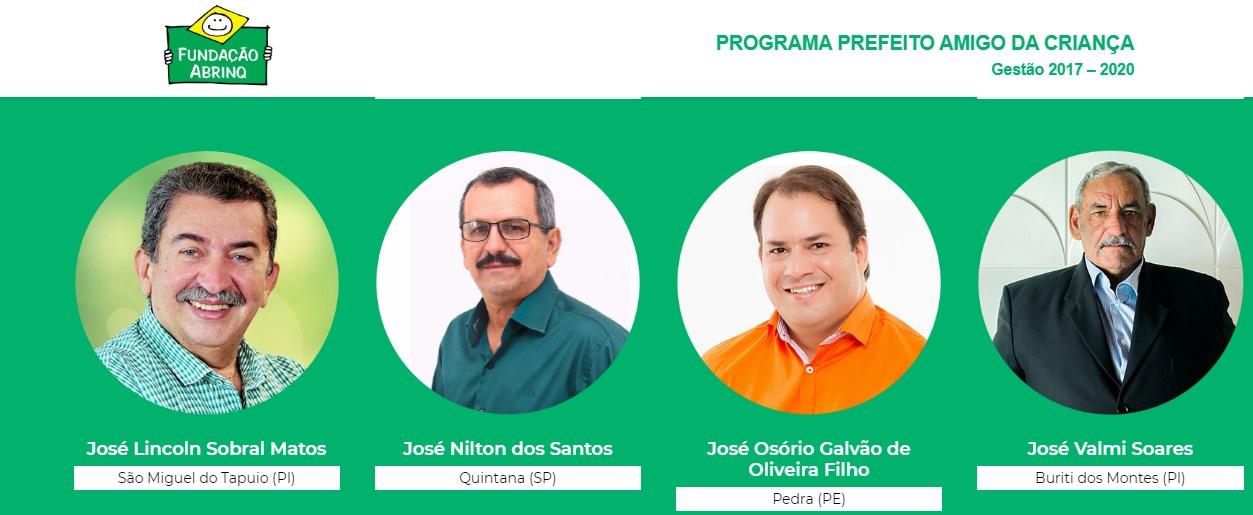 """Prefeitos que ganharam o título """"prefeito amigo da criança"""" - Imagem: Divulgação"""