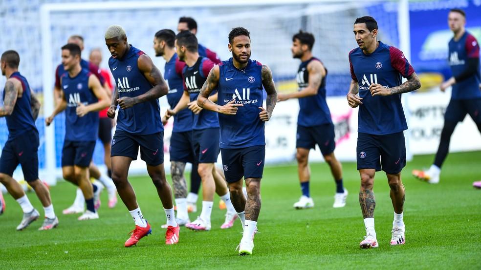 Neymar no último treino do PSG antes de encarar o Lyon — Foto: Reprodução/Twitter