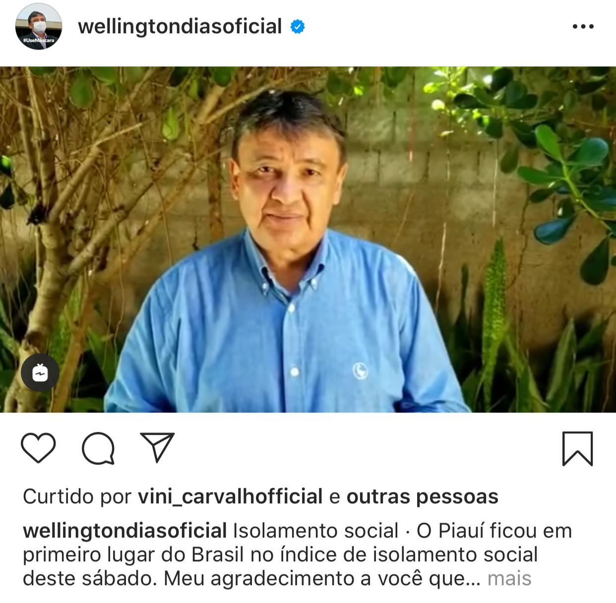 Piauí fica em primeiro lugar do Brasil em isolamento social - Foto: Reprodução/Instagram