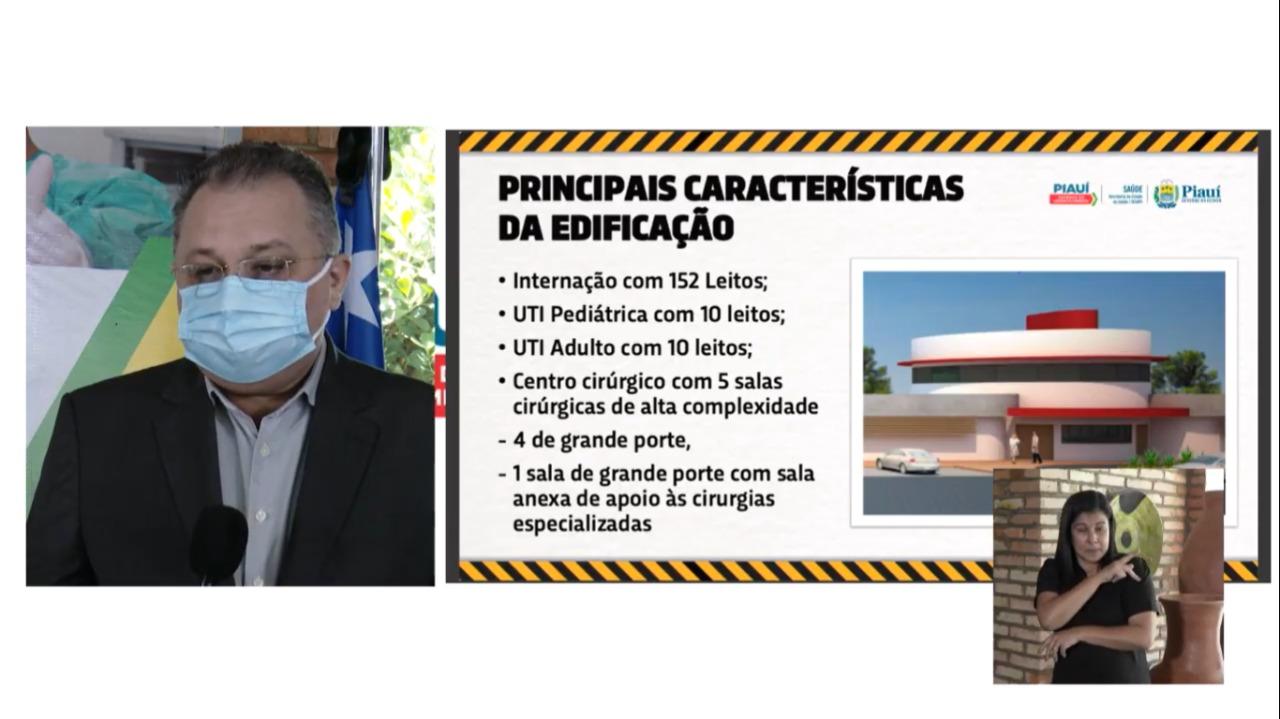Florentino Neto fala sobre obra do Hospital de Picos (Reprodução/ Youtube)