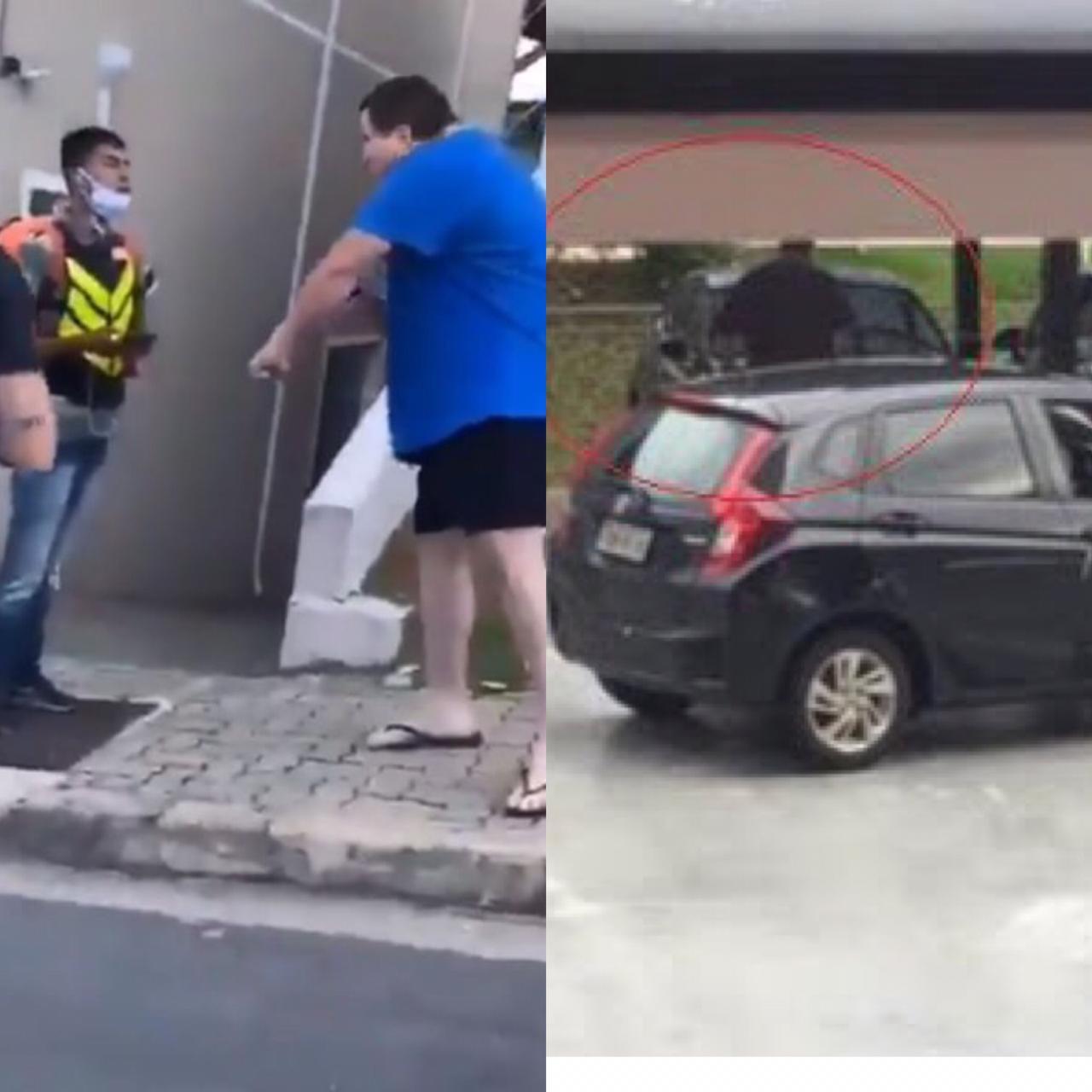 Homem que humilhou motoboy aparece em vídeo quebranco carro da vizinha - Foto: Reprodução