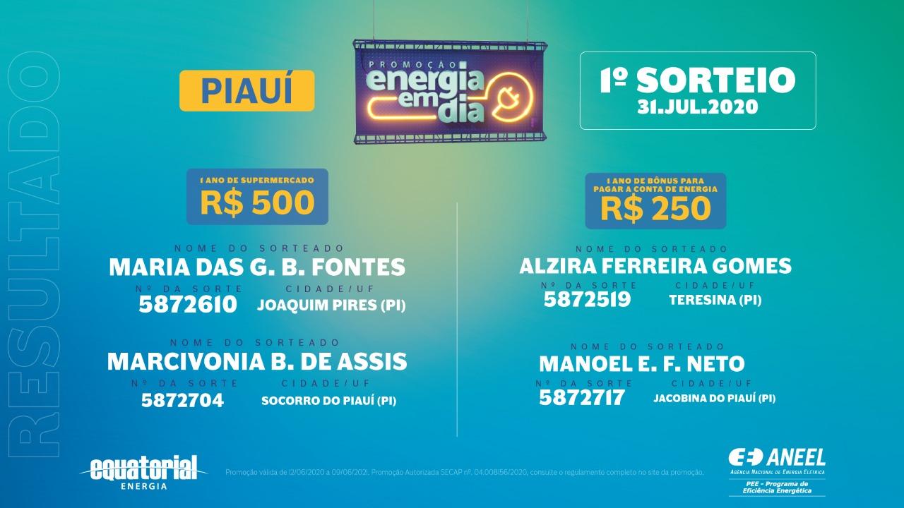 Ganhadores da promoção da Equatorial Piauí