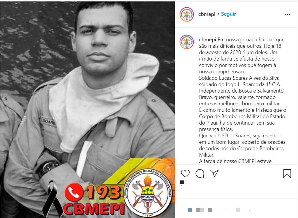 Corpo de Bombeiros do Piauí lamenta a morte de Soldado na BR-316 - Foto: Reprodução/Instagram