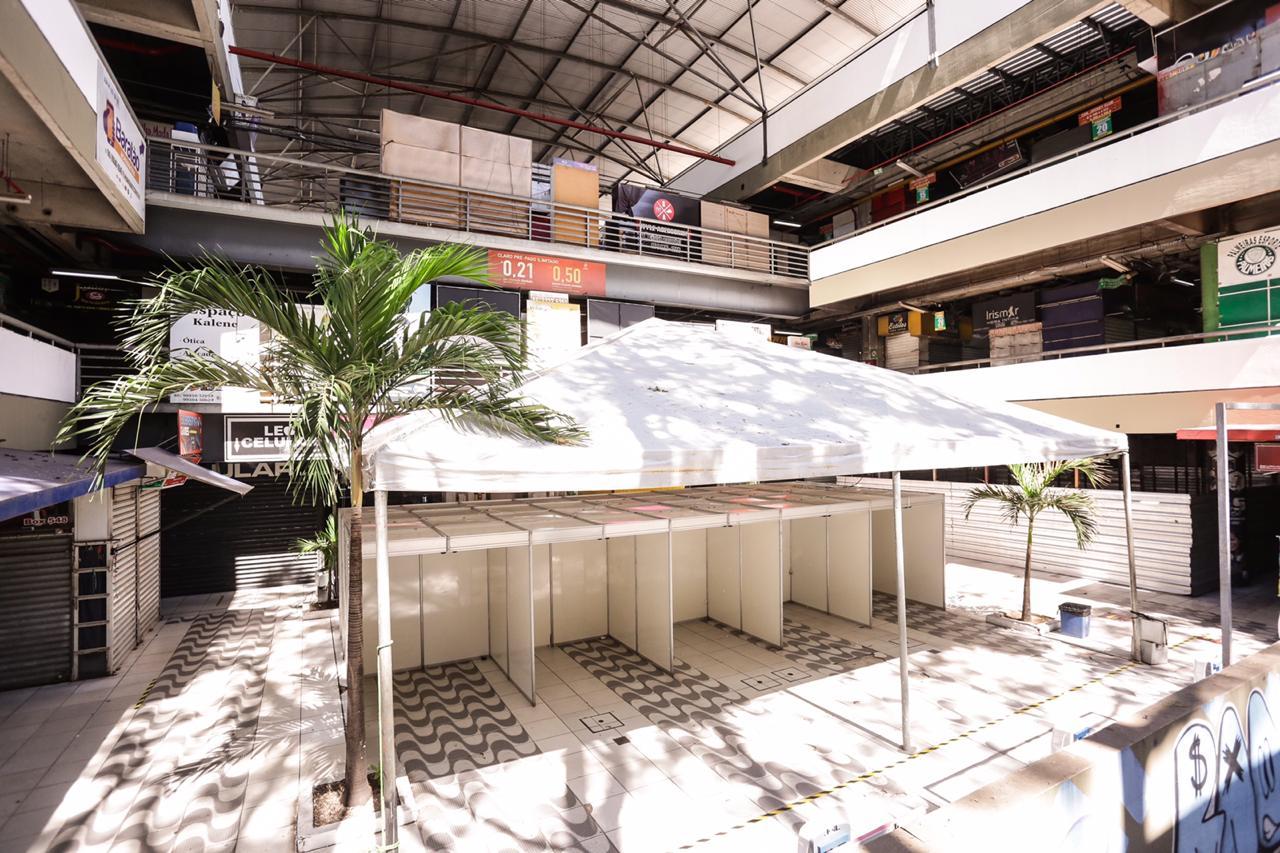 Estrutura montada no Shopping da Cidade - Foto: Ascom