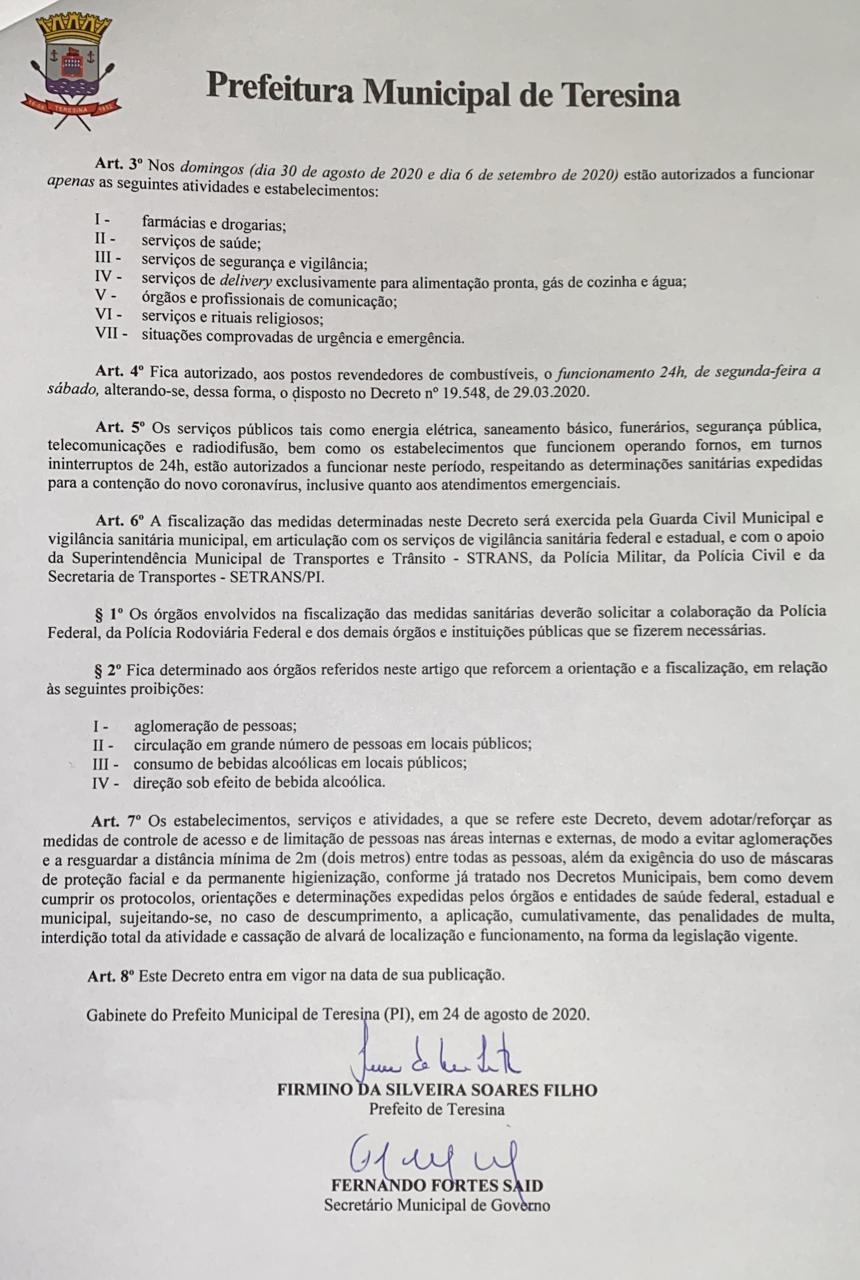 Novo decreto flexibiliza atividades comerciais em Teresina