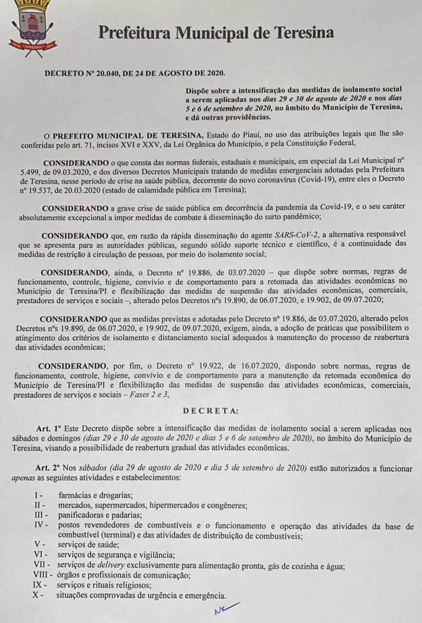 Decreto flexibiliza atividades economicas em Teresina
