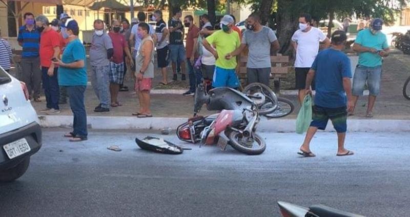 Outro motociclista envolvido no acidente se evadiu do local (Reprodução/ Piripiri Repórter)