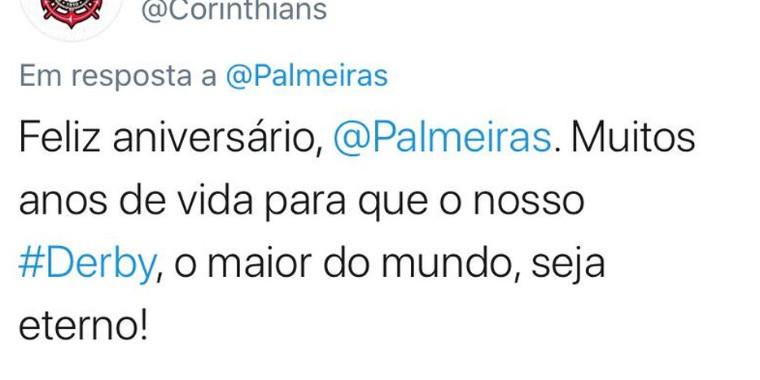 Corinthians parabeniza rival Palmeiras