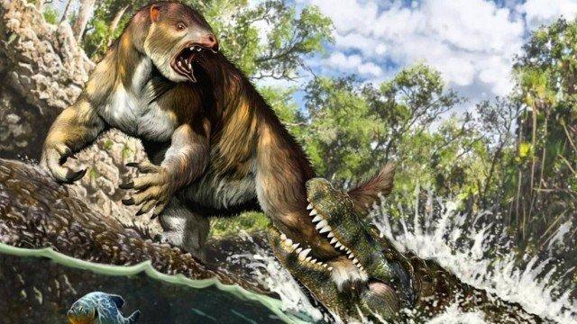 Representação do ataque do Purussaurus contra o bicho-preguiça Foto: Reprodução/Biology Letters