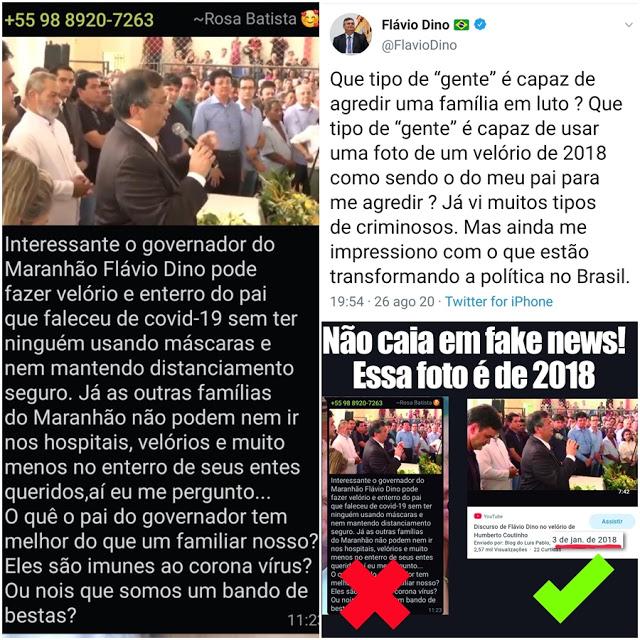 Governador Flávio Dino comenta fake news envovolvendo velório de seu pai