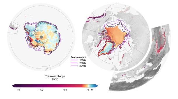 Imagem que avalia o gelo na Terra (Slater et al (2020)