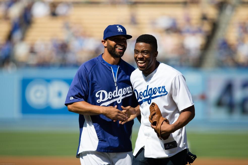 Matt Kemp e Chadwick Boseman em 2013 (Foto: Getty Images)