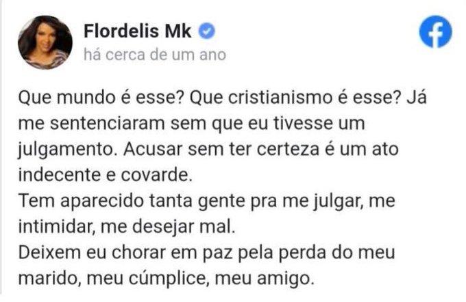 Publicação no Facebook de Flordelis
