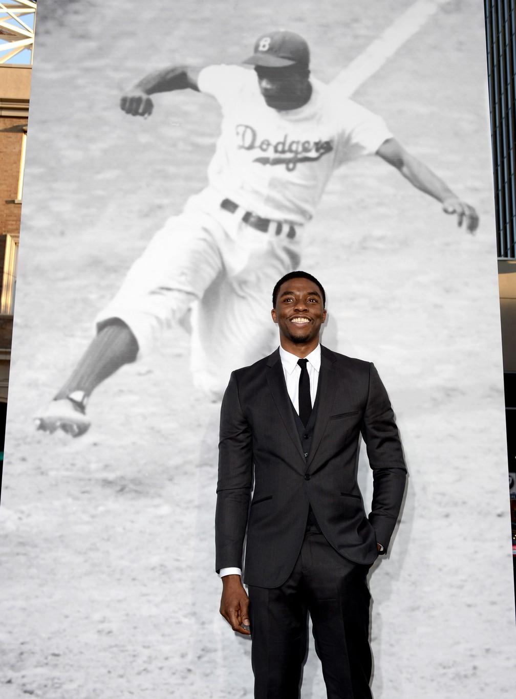 """Chadwick Boseman no lançamento do filme """"42"""" (foto: Getty Images)"""