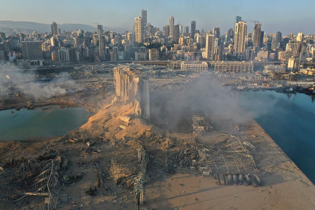 Imagem feita por drone mostra vista aérea do local da explosão - Foto: AP