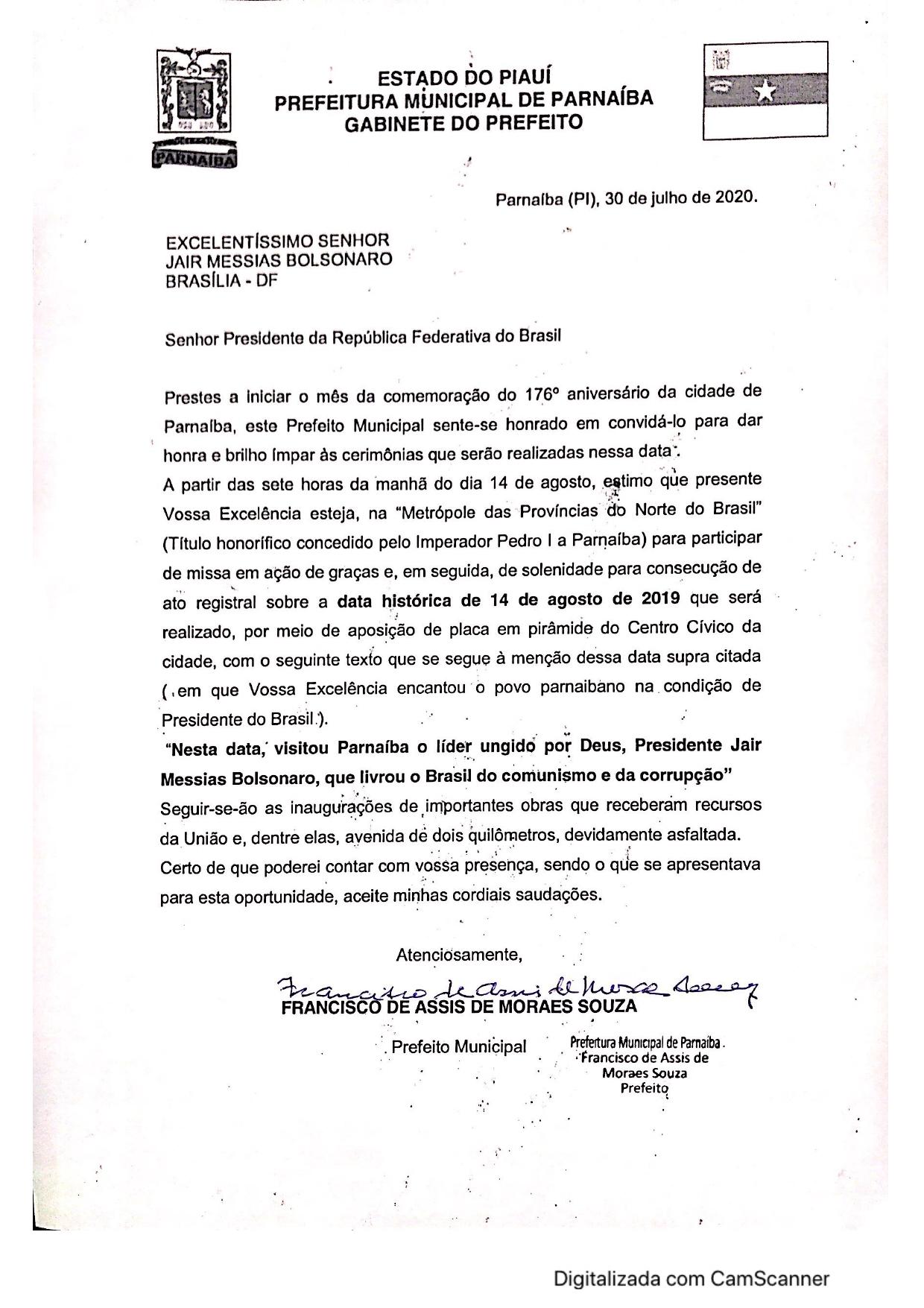 Ofício enviado ao presidente Jair Bolsonaro - Foto: Divulgação