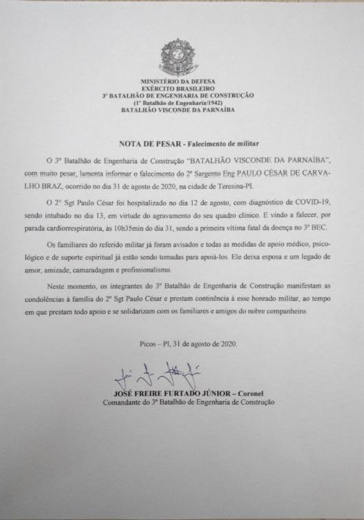3º BEC de Picos divulga nota de pesar