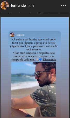 Fernando compartilhou texto de fã-clube / Instagram