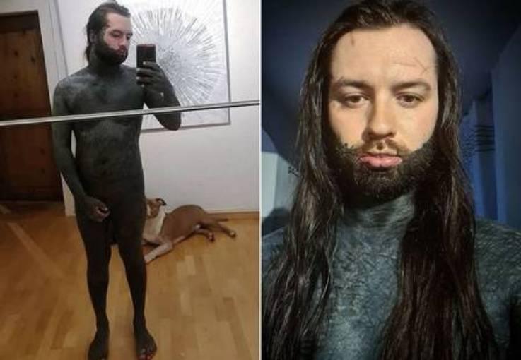 Suíço gasta em torno de R$ 60 mil para pintar o corpo todo de preto (Reprodução)