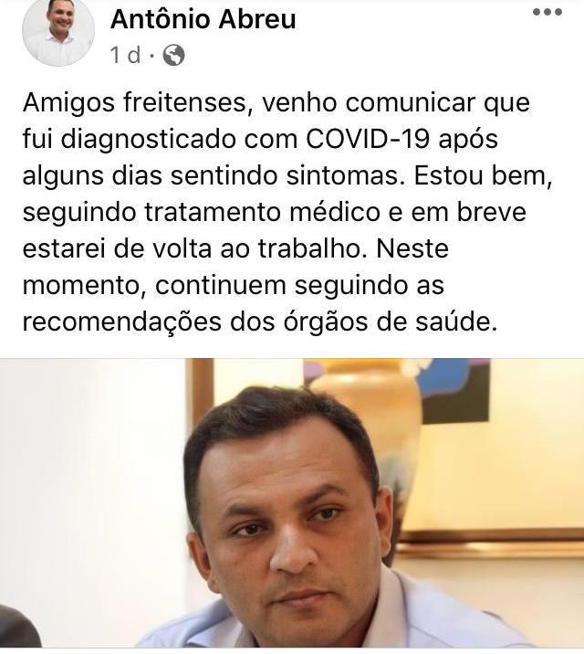 Vice-prefeito de José de Freitas é diagnosticado com Covid-19