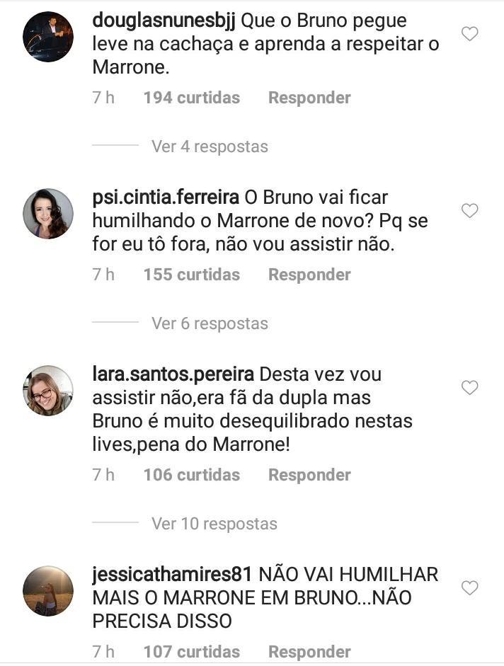Fãs criticam atitude de Bruno embriagado em live