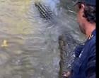 Homem empurra crocodilo pelo focinho com a própria mão; Vídeo