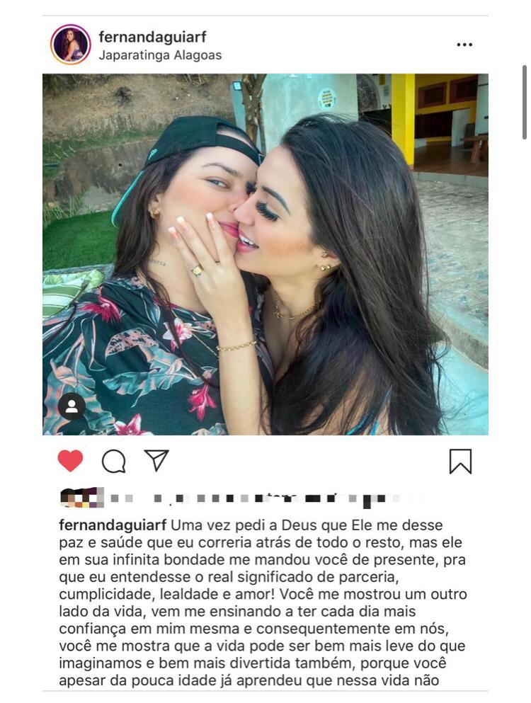 Influencer Fernanda Aguiar assume namoro com a cantora Maria Clara - Imagem 2