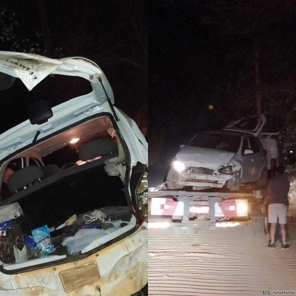 Após roubarem carro, criminosos fogem da polícia e capotam em Picos