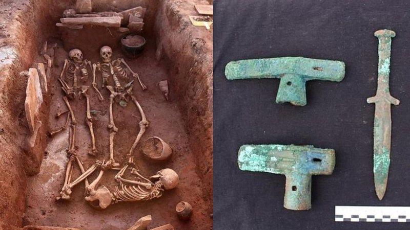 Fotografia dos esqueletos e das armas encontradas na Sibéria (Foto: Divulgação)