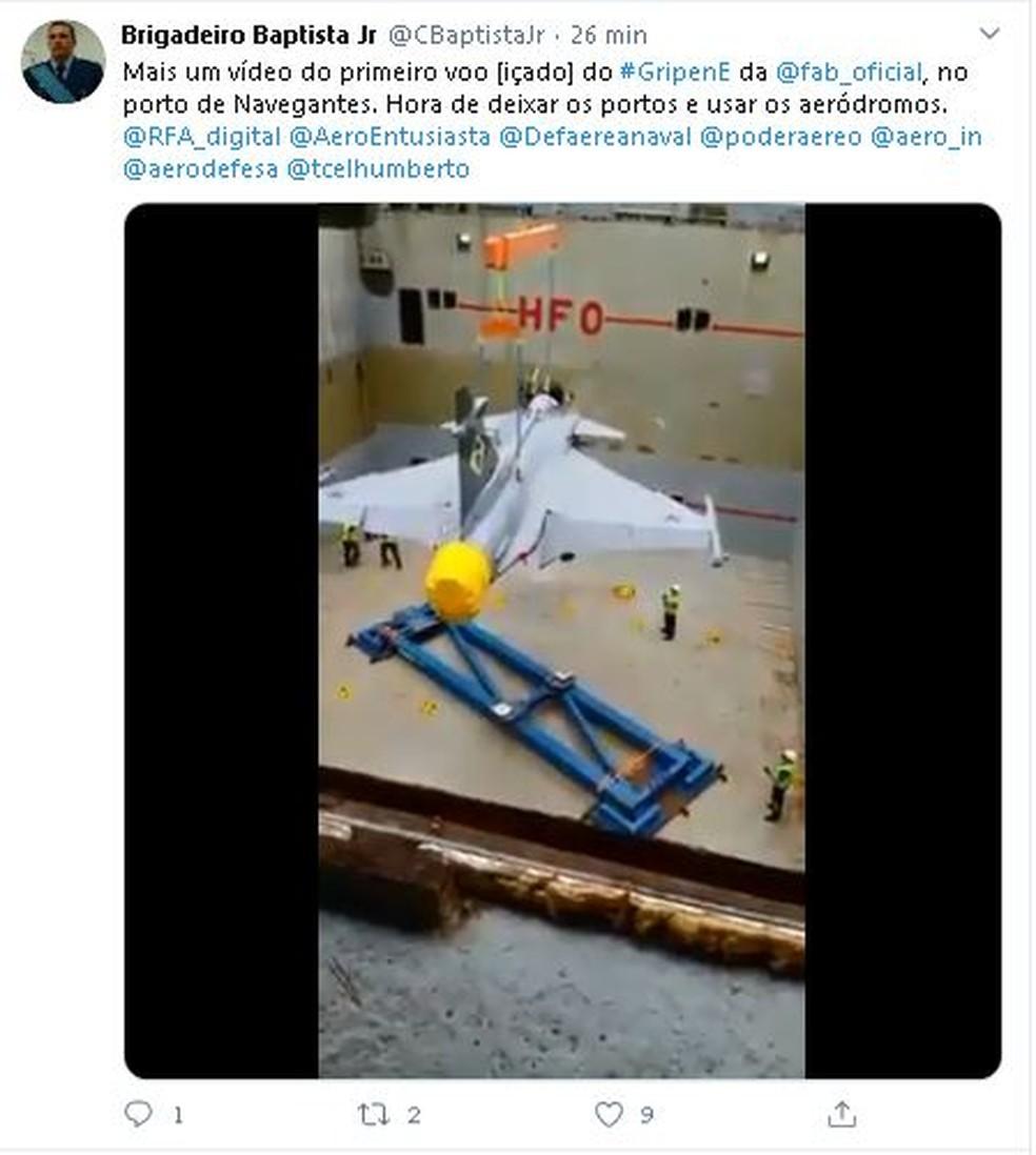 Gripen chegou ao Brasil de navio — Foto: Redes sociais/Divulgação