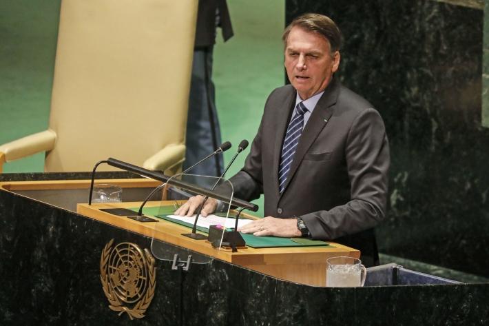 Bolsonaro faz discurso na ONU - Foto: AFP