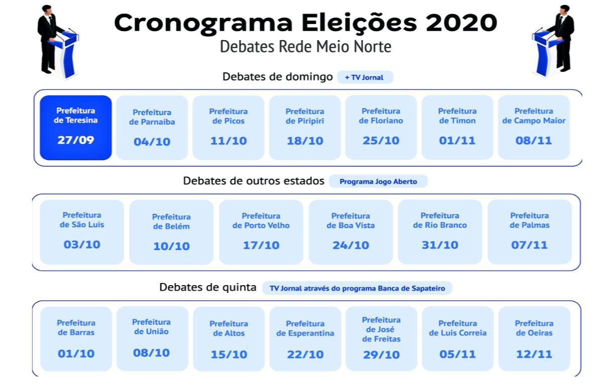 Cronograma de debates que serão realizados pela Rede Meio Norte