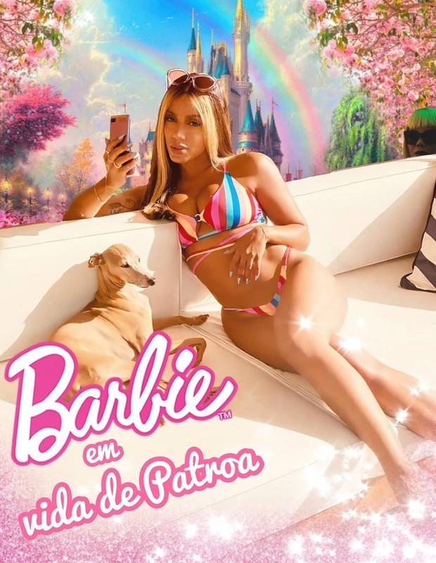 Anitta compartilha montagem com Ludmilla no fundo