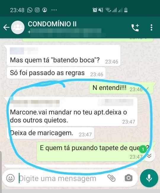 Jornalista acusa comentários de cunho homofóbicos em um grupo de WhatsApp de condomínio-ReproduçãoJornalista acusa comentários de cunho homofóbicos em um grupo de WhatsApp de condomínio-Reprodução