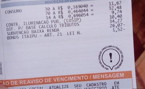 Selo tarifa social em contas da Equatorial Piauí