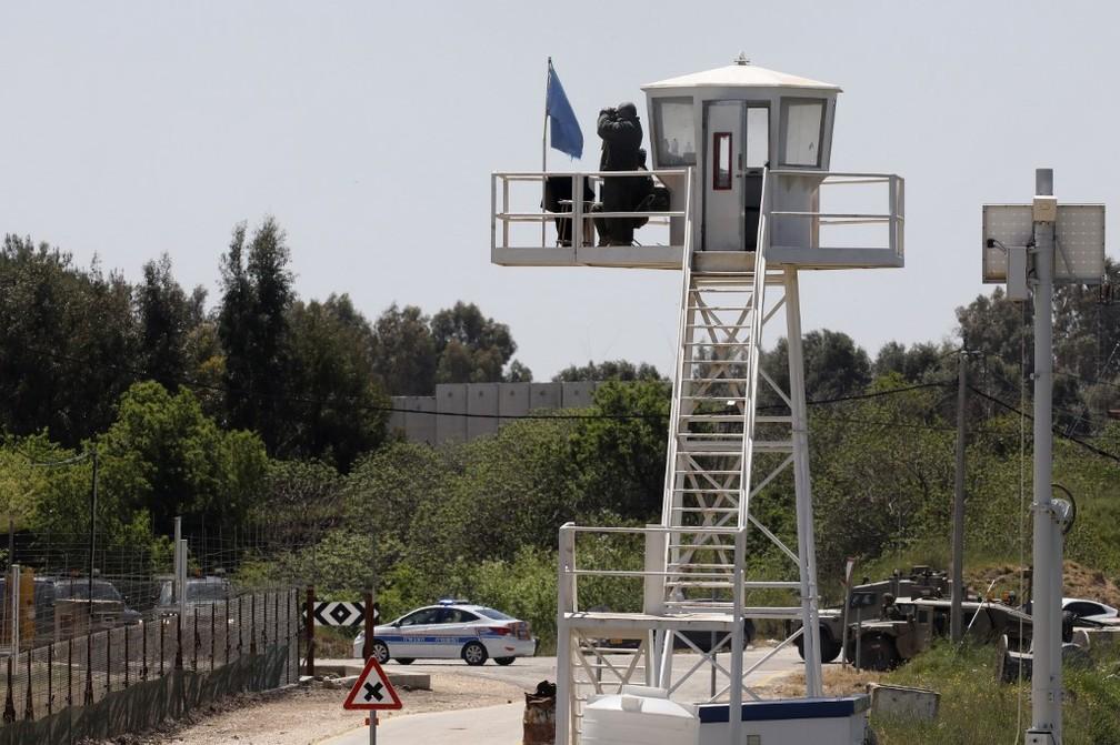 Posto da ONU na fronteira entre Israel e Síria — Foto: Jalaa Marey/AFP