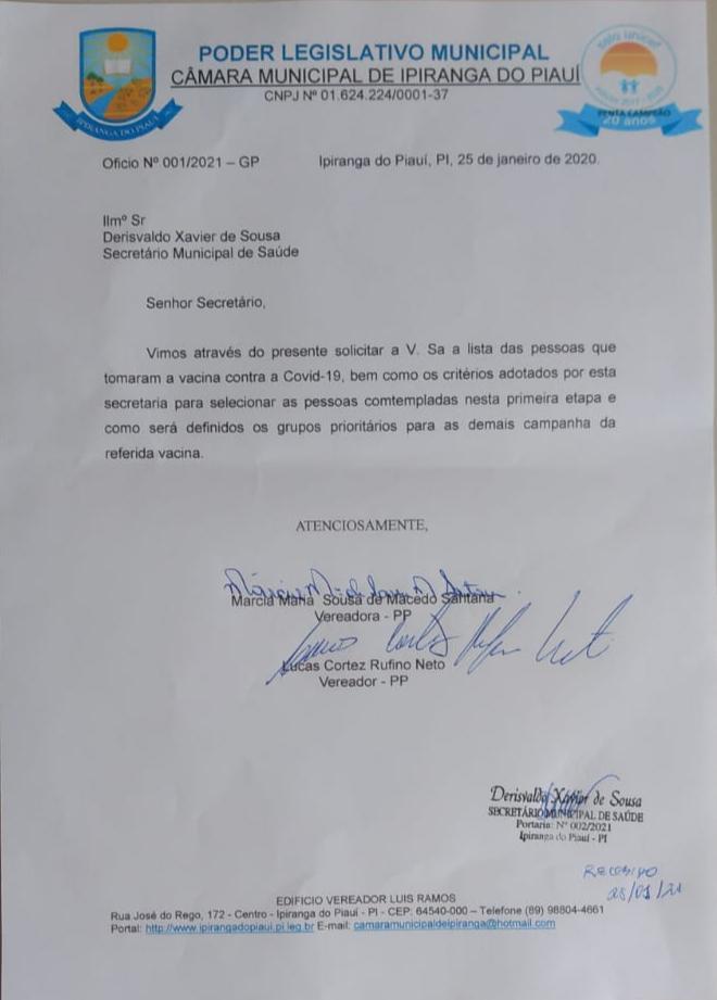 Em Ipiranga do Piauí, Vereadores cobram maiores esclarecimentos sobre a primeira fase da campanha de vacinação do Covid-19. - Imagem 2