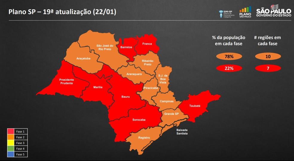 Atualização do Plano São Paulo na sexta-feira (Foto: reprodução)