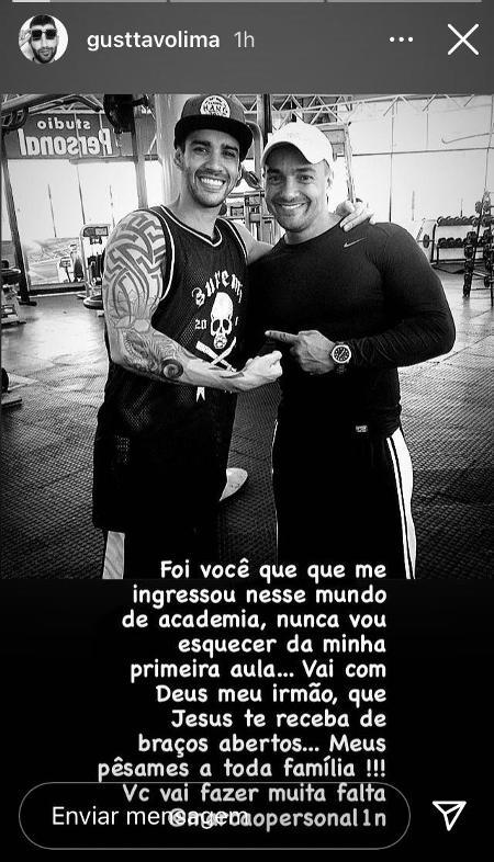 """Gusttavo Lima lamenta morte de seu personal trainer: """"Meu irmão"""" - Imagem 1"""