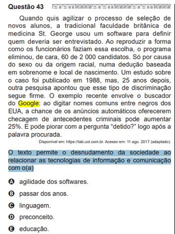 Inep é acusado de racismo e muda o gabarito do Enem 2020 - Imagem 2