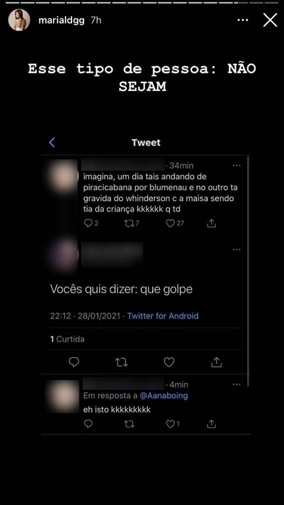 Maria Lina mostrou mensagens de ataque que recebeu