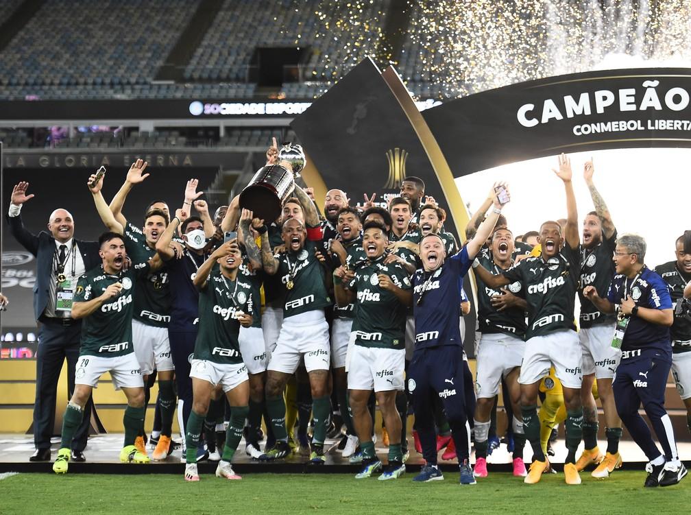 Palmeiras comemora o título da Libertadores — Foto: Andre Durão
