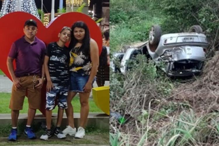 Pai, mãe e filho ficaram feridos no acidente na BR-135 (Reprodução/ Revista Opinião)