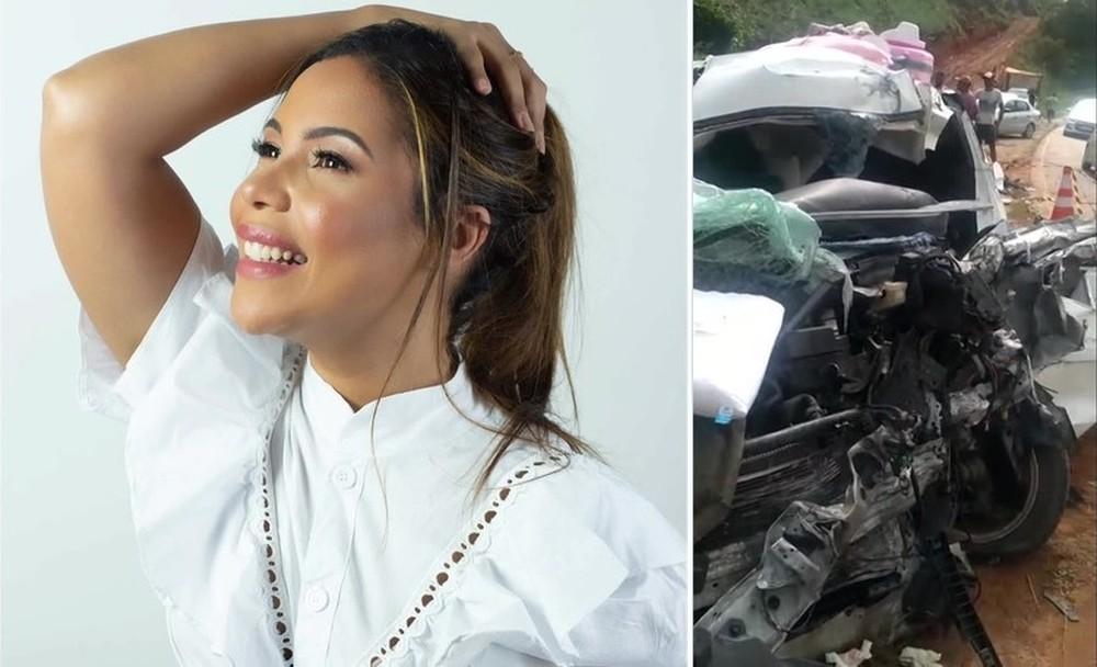 Cantora gospel Amanda Wanessa sofreu acidente na PE-60, na Zona da Mata Sul, e veículo em que estava ficou destruído, na segunda-feira (4)