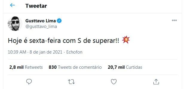 Gusttavo Lima fez postagem no Twitter que intrigou os fãs - Foto: Reprodução
